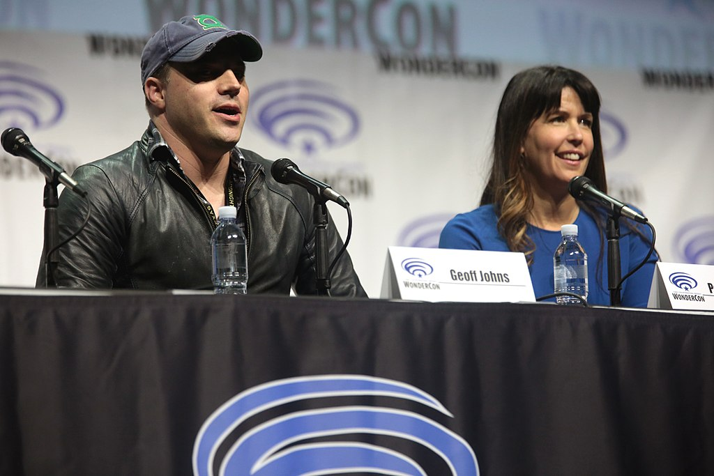 "Geoff Johns and Patty Jenkins speaking at the 2017 WonderCon, for ""Wonder Woman"", at the Anaheim Convention Center"