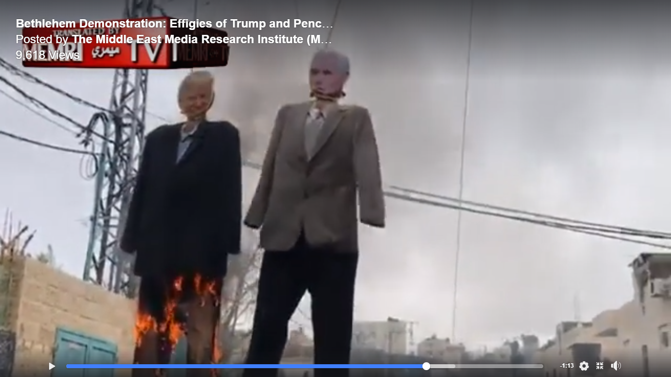 Gaza Arabs hang and burn effigies of President Trump and Vice President Pence
