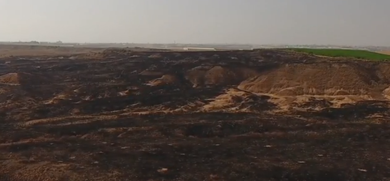Beeri Crater Reserve Burnt by terror kites from Gaza