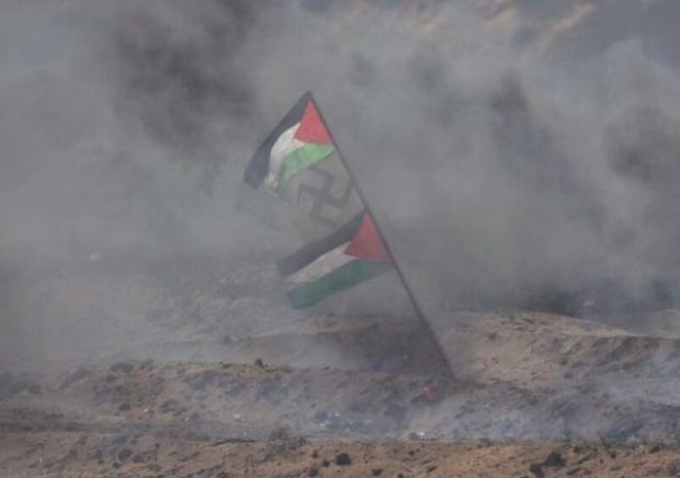 Palestinian Flag with Swastika via IDF blog