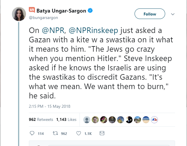 Picture of tweet about Gazan with Swastika kite