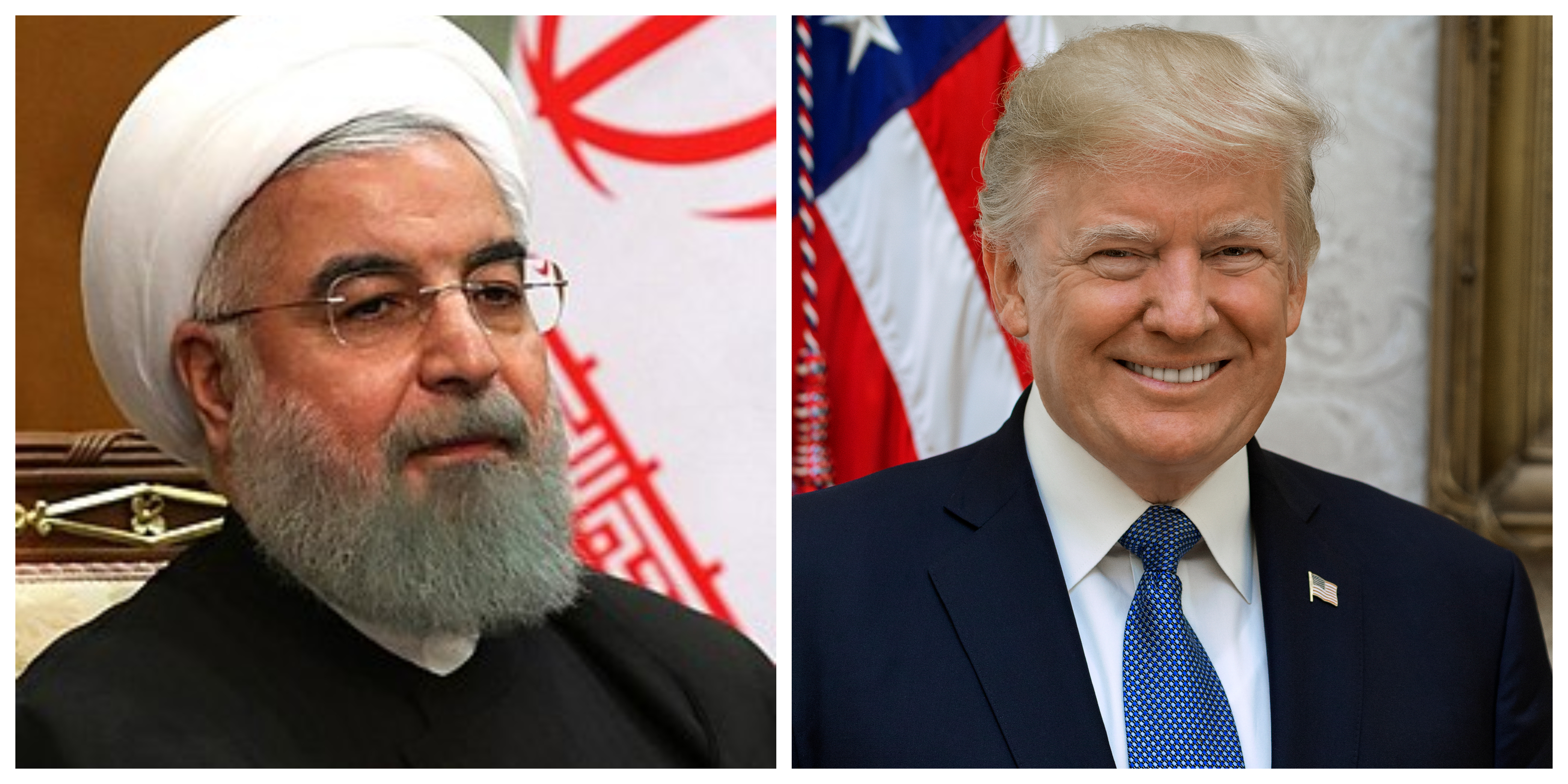 Iranian President Rouhani, left, Donald J. Trump, right
