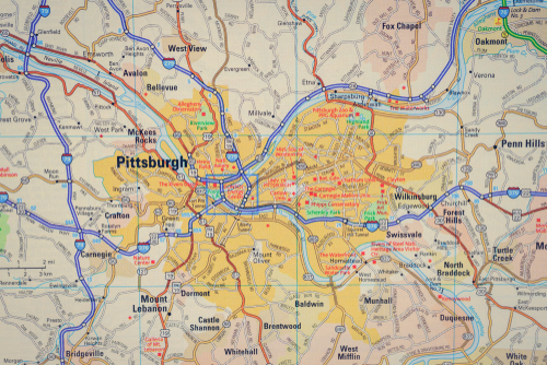 map of Pittsburgh, Pennsylvania