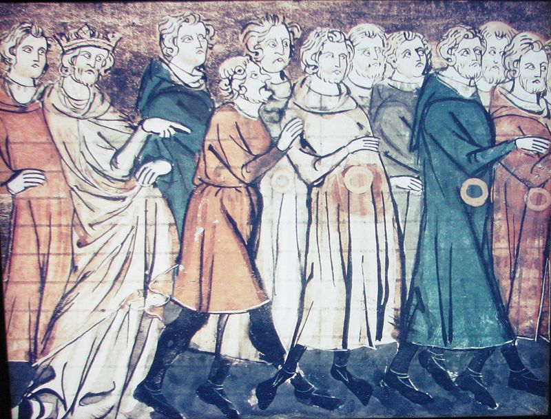 A miniature from Grandes Chroniques de France depicting the expulsion of Jews from France in 1182