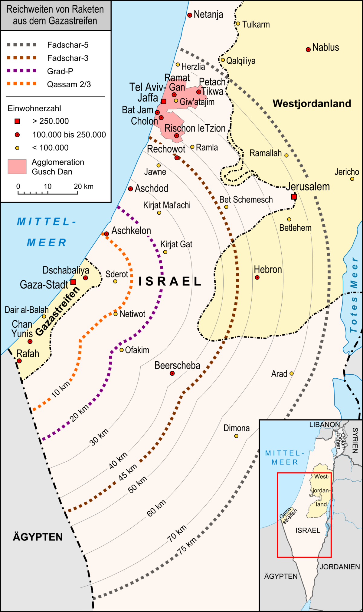 Map showing reach of Hamas missiles (Lencer [CC BY-SA 3.0 (https://creativecommons.org/licenses/by-sa/3.0)], via Wikimedia Commons)
