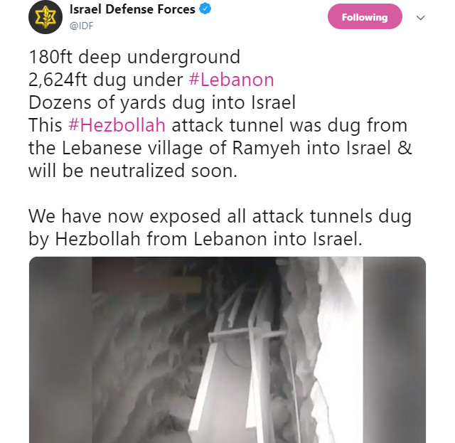 Hezbollah Tunnel on Israeli-Lebanese border