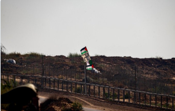 Swastika flag raised at weekly Gaza protests