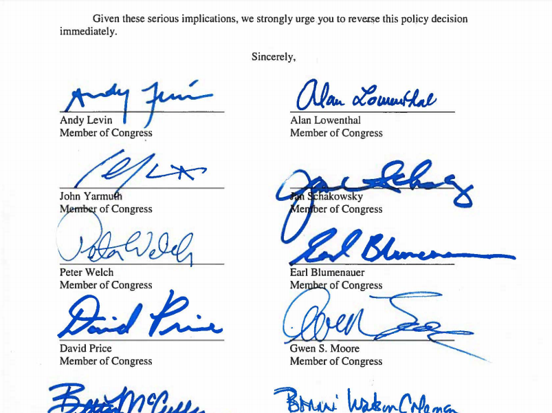 Screenshot of signatures by Democrats on JStreet letter demanding reversal of Trump administration policy on settlements
