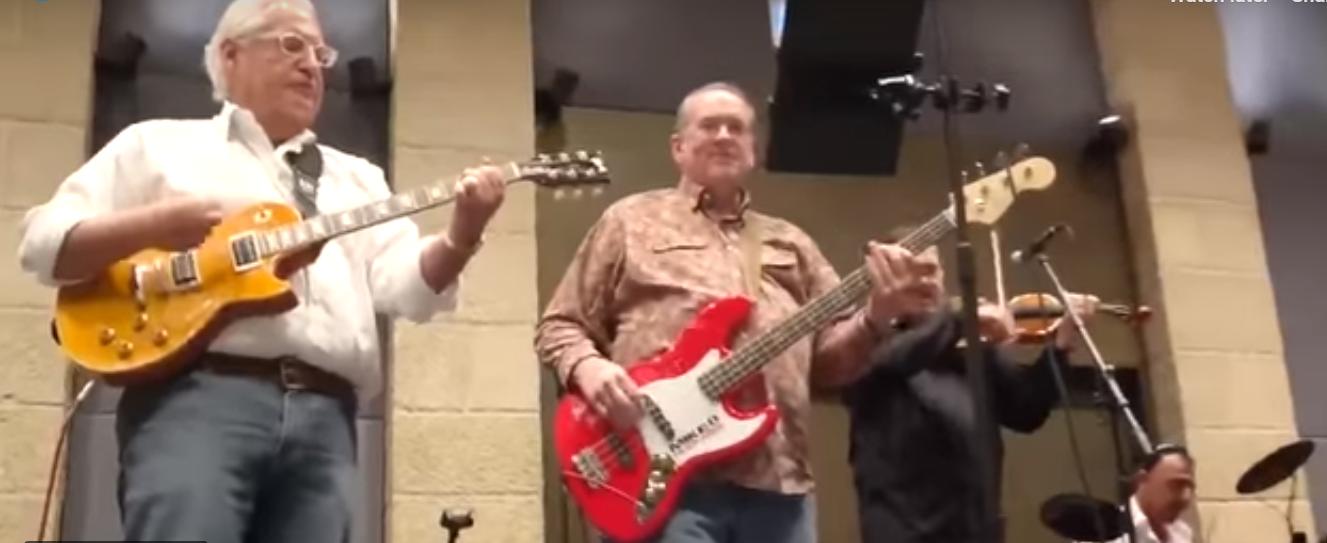US Ambassador to Israel David Friedman and Governor Mike Huckabee play guitar in Jerusalem