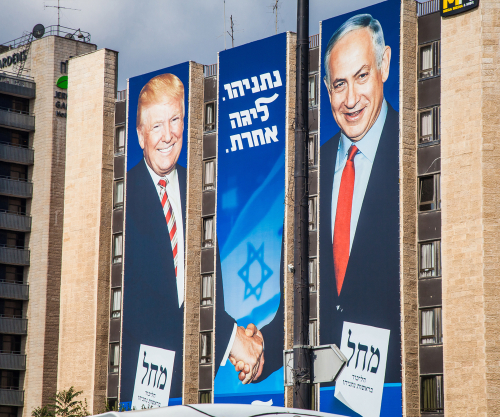 Trump Bibi sign in Jerusalem