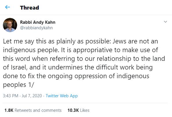 Rabbi Andy Kahn tweet says Jews aren't indigenous